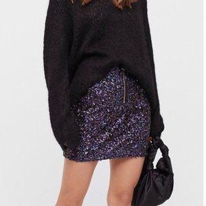 FREE PEOPLE Black Sequin Mini Skirt